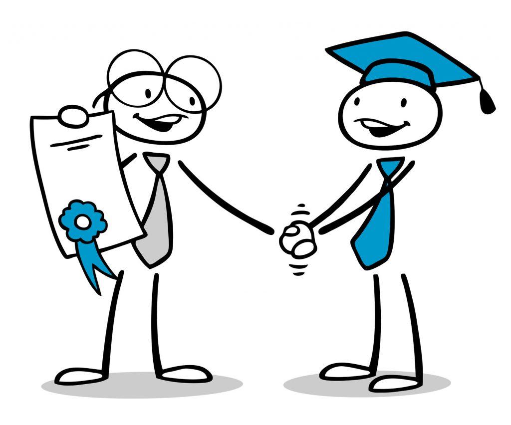 Cartoon Mann gratuliert zu Zertifikat oder Diplom nach der Ausbildung