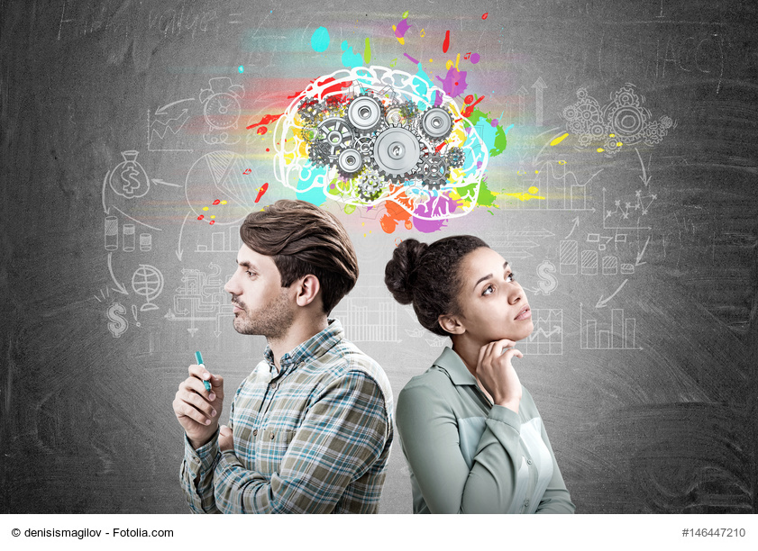 Man and woman with brain gears