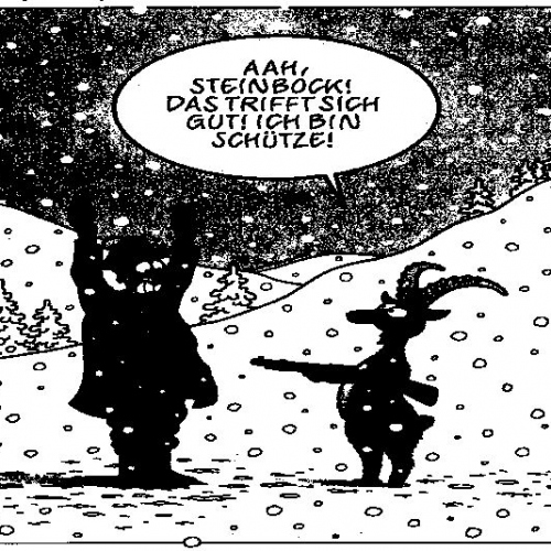 Cartoon Schütze Steinbock